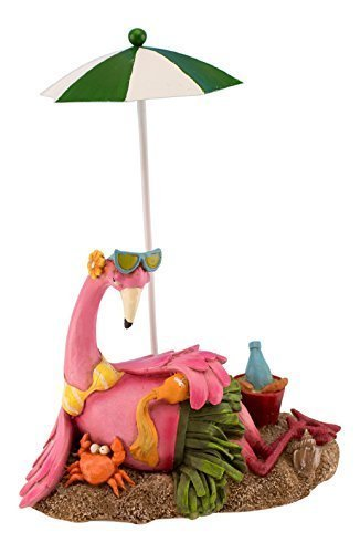 (Beachcombers Coastal Life Pink Flamingo and Crab Lounging on Beach Under Umbrella Tabletop 8 Inch Figurine)