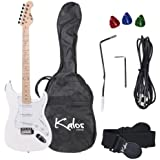 Kalos 1EG-WH 39-Inch Electric Guitar with Gig Bag , 3 Picks,