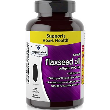 Member's Mark 1300 mg Flaxseed Oil Dietary Supplement 325 ct. (Pack of 3) A1