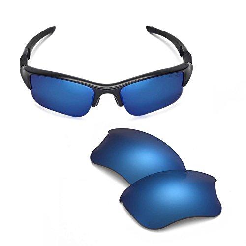 Walleva Replacement Lenses Or Lenses/Rubber Kit for Oakley Flak Jacket XLJ Sunglasses - 41 Options (Ice Blue - Mr. Shield Polarized)