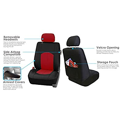 FH Group PU008114 Highest Grade Faux Leather Seat Covers (Red) Full Set – Universal Fit for Cars Trucks & SUVs: Automotive