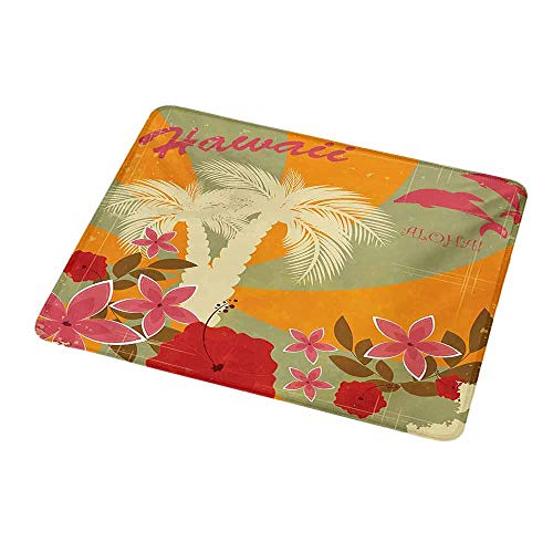 - Natural Rubber Mouse Pad Hawaiian,Aloha Vintage Print Colorful Swirl Backdrop Dolphins Palm Trees Flowers,Marigold Reseda Green,Standard Size Rectangle Non-Slip Rubber Mousepad 9.8