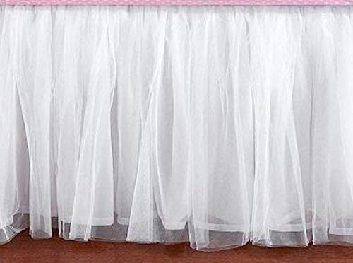 Queen Size 16 Inch Drop White Tulle Bed Skirt Dust Ruffle