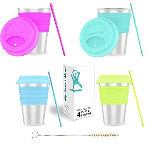 Stainless Steel Sippy Cup for Toddlers - Stainless Steel Cups for Kids 10oz with Silicone Lids Sleeve & Straw Premium Metal Glasses with Straw Cleaner 4-Pack