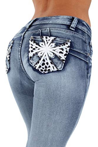 Fashion2Love Style SF35057S–Colombian Design, Butt Lift, Levanta Cola, Skinny Jeans in Washed Blue Size 9 by Fashion2Love