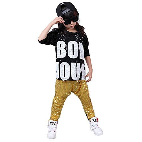DREAMOWL Girls Boys Sequin Ballroom Modern Jazz Hip Hop Dance Costumes Clothing Top Pants(Yellow, 14)