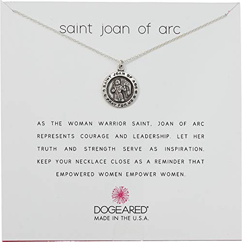 Arc Necklace - Dogeared Women's Saint Joan of Arc, Saint Coin Charm Necklace Sterling Silver One Size