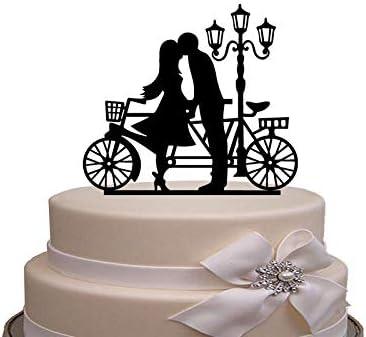 Decoración de acrílico para tarta de boda de Cheyan, silueta de novia y novio y bicicleta: Amazon.es: Hogar
