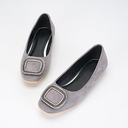 Soft Ballet Comfort Slip Velvet Toe Square Grey Women's On OCHENTA Shoes Flat Tqx8HIf