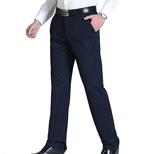 LINGMIN Men's Flat Front Straight Dress Pants Classic-Fit Chino Pant with Pockets ()