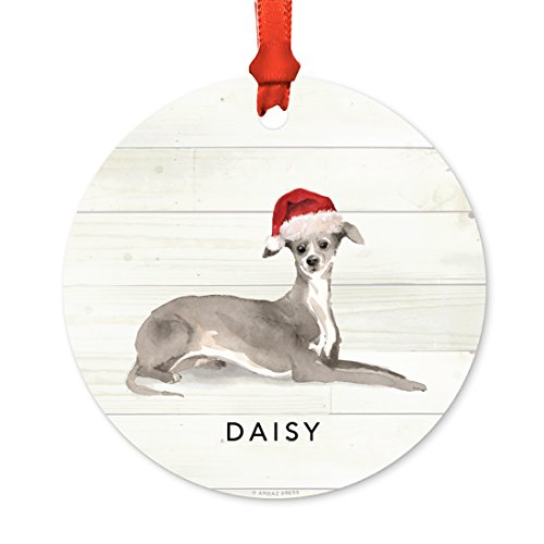 Andaz Press Personalized Animal Pet Dog Metal Christmas Ornament, Italian Greyhound with Santa Hat, 1-Pack, Includes Ribbon and Gift Bag, Custom Name ()