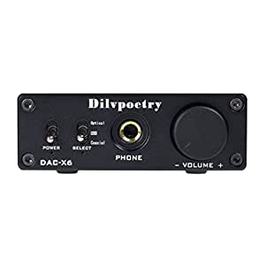 Dilvpoetry DAC-X6 Digital Stereo Audio Headphone Amplifier DAC Decoder Optical/Coaxial/USB Amp 24Bit/192kHz (Black)