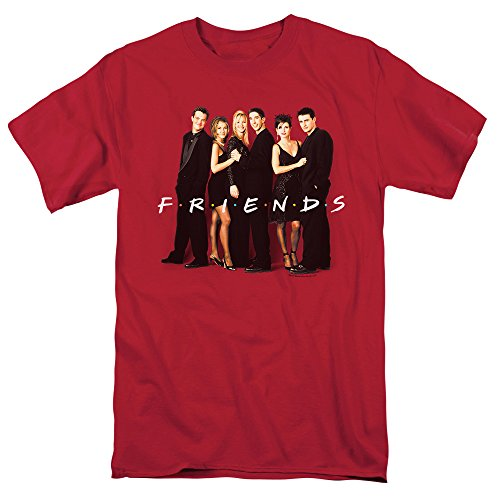 Friends TV Show Cast in Black, Red T Shirt & Stickers (Large)