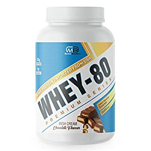 M B Muscle Builder's Whey Protein Powder with added digestive enzymes | Sports & Protein Supplements | Protein 24g & BCAA 6g per serving – 2 lb, Irish Cream Chocolate Flavour
