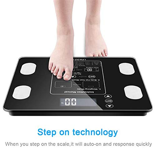 Quklei Digital Body Fat Scale, Digital Body Weight Bathroom Scale Health Analyser Fat Muscle BMI Black (US Stock) by Quklei