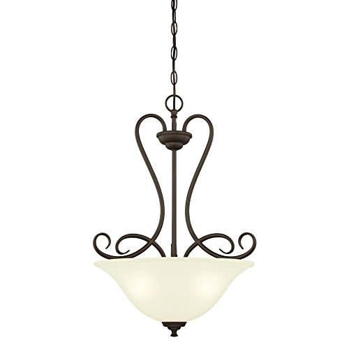 Westinghouse Lighting 6305800 Dunmore Three-Light Indoor Pendant, Oil Rubbed Bronze Finish with Frosted Glass,
