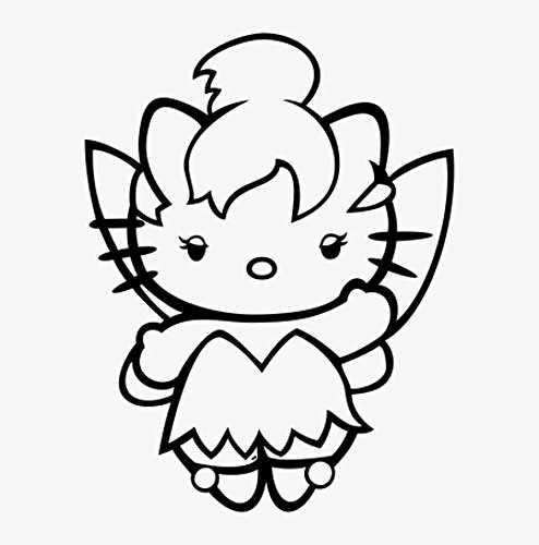 Hello Kitty Disney Peter Pan Tinkerbell, Purple, 12 Inch, Die Cut Vinyl Decal, For Windows, Cars, Trucks, Toolbox, Laptops, Macbook-virtually Any Hard Smooth Surface