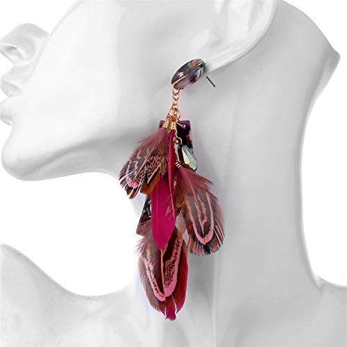 Nicole Miller New York Round Maroon Resin Acrylic Fuscia Pink Feathers Rosegold Dangle Earrings 5
