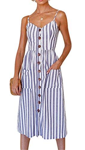 Summer Striped Dresses for Women Spaghetti Strap Midi Button Down Swing Dress Small 25-Light Blue