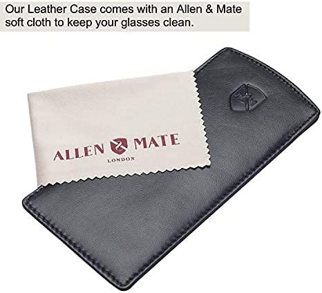 ALLEN /& MATE Real Leather Reading Glasses Case Slim Soft Spectacles Pouch Sleeve with Glass Cleaning Cloth
