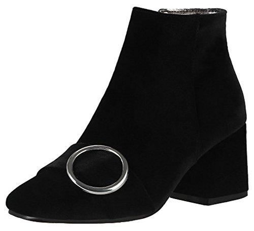 Mofri Women's Elegant Buckle Strap Block Medium Heel Ankle Booties Square Toe Velvet Side Zipper Short Boots (Black, 7 B(M) - Times Shops Square Opening Times
