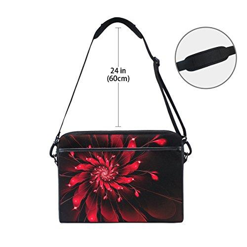 jstel Abstrakt Fractal Blumen Laptop Umhängetasche Fall Sleeve für 35,6cm zu 39,6cm mit verstellbarer Notebook Schultergurt