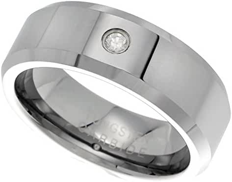 8mm Tungsten 900 ™ Cubic ZirconiaRing High Polish Beveled Edges Comfort fit, sizes 9 - 12