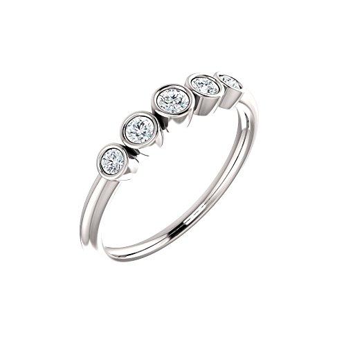 Bonyak Jewelry Platinum 1/4 CTW Diamond Graduated Bezel-Set Ring - Size 7