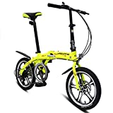 LETFF Adult Folding Bicycle 16 Inch Aluminum Alloy, Variable Speed Shock Absorption Student Mountain Bike Men And Women,Yellow