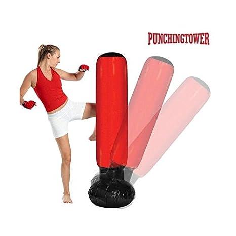 Apolyne Punching Tower Saco de Boxeo de Pie con Inflador, Rojo/Negro, Talla Única