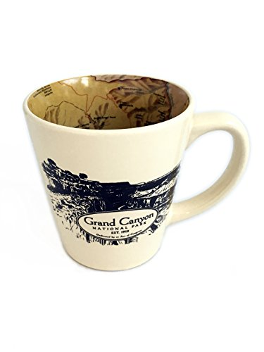 National Park Inside Out Map Designed Ceramic Latte Coffee Mug - Grand Canyon by McGovern & Company