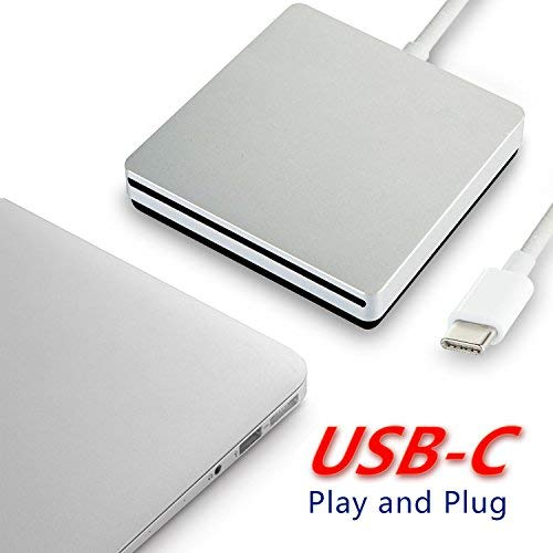 twtber Type -c External Optical Drive, Speed DVD Burner Drive, USB-c Super External DVD/CD rewritable Drive, for The Latest Mac pro/MacBook pro/asus/dell etc. - Silver. (PVG-1) by twtber