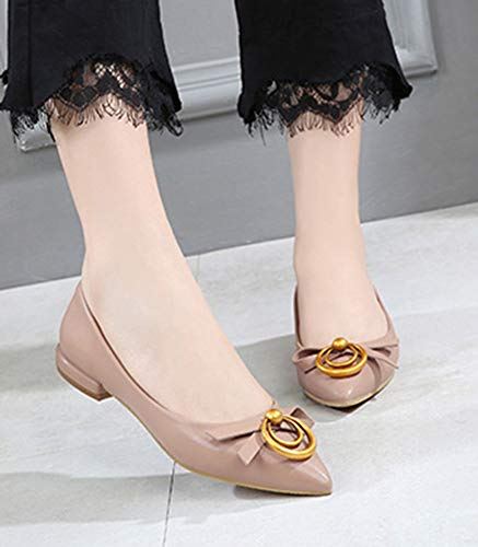 Noeud Aisun Bout Pointu Rose Travail Belle Chaussures Femme De Ballerines ppwERq1A