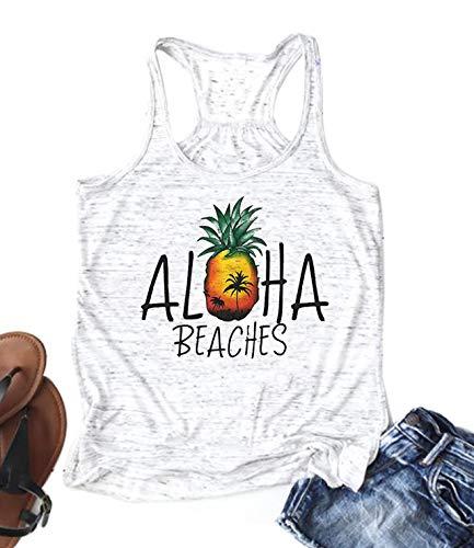 Cute Pineapple Aloha Beaches Racerback Tank Tops Women Funny Hawaiian Beach Party Shirts Letter Print Top Tee (Medium, - Aloha Tank