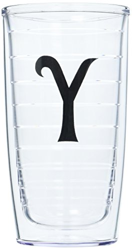 (Tervis Tumbler with Decorative Black Twill Letter-Y, 16-Ounce)