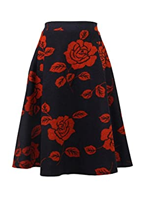 emondora Women's Wool Woolen High Waist A-Line Flared Vintage Midi Skirt