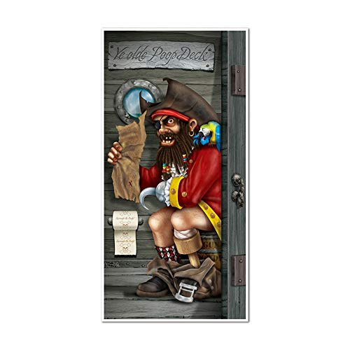 Funny PIRATE CAPTAIN in POOP DECK Bathroom Door Cover Birthday Party Decoration -