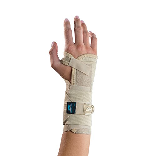 "DonJoy Advantage Stabilizing Elastic Wrist Brace for Carpal Tunnel, Sprains, Strains, Tendonitis, Instabilities - Palm Stay, Elastic Fabric Comfort & Compression. Left, X-S to Small, 4.5"" - 6.5"" Tan"