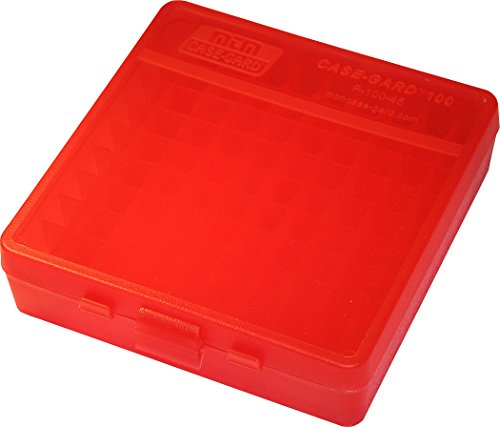 MTM 100 Round Flip-Top Ammo Box 40/45/10MM Cal (Clear Red)