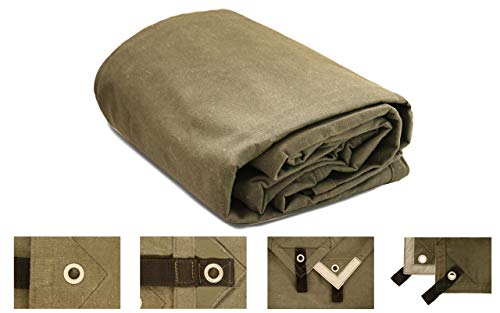 18 oz. Heavy Duty Canvas Tarp, Water, Mold & UV Resistant, Rustproof Grommets, Reinforced Edges & Reflective Tape for Industrial & Commercial use (Cut Size: 10' x 12', Finished Size: 10' x 11'8