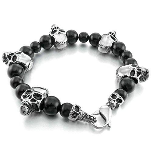 Men's Stainless Steel Glass Bracelet Link Wrist Bead Skull Vintage Punk Rock Silver Black