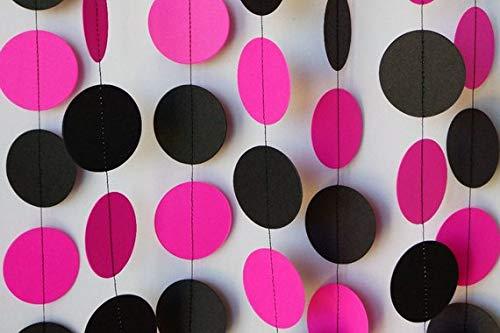 Guirnalda de papel rosa y negro de 3 m, decoración de fiesta ...