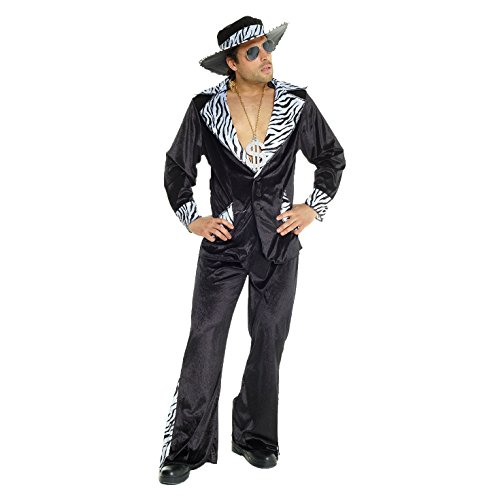 Mens Pimp Daddy Costume Black Velvet Suit for Bachelor Stag Party Fancy Dress