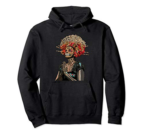 Graphic Fashion Flower Sugar Skull Rose Eyes Day of The Dead Pullover Hoodie]()