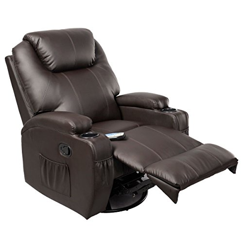 Massage Sofa Recliner Deluxe Ergonomic Lounge Heated PU Leather W/Control Brown (Upholstery Repair Diego San Furniture)
