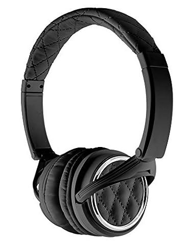BiGR Audio Madison Avenue Leather Over-ear Headphones with Mic, Black (Bigr Audio Cable)