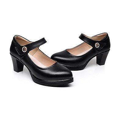 La Mujer Tacones Zapatos Formales Pu Primavera Verano Oficina Boda &Amp; Carrera Parte &Amp; Noche Zapatos Formales Chunky Talón Negro Blanco 1A-1 3/4 Pulg. US4-4.5 / EU34 / UK2-2.5 / CN33