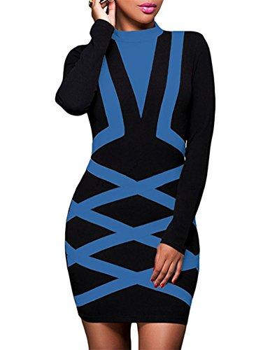 Cfanny Women's Mock Neck Long Sleeves Bandage Bodycon Party Dress,Black Blue,Large