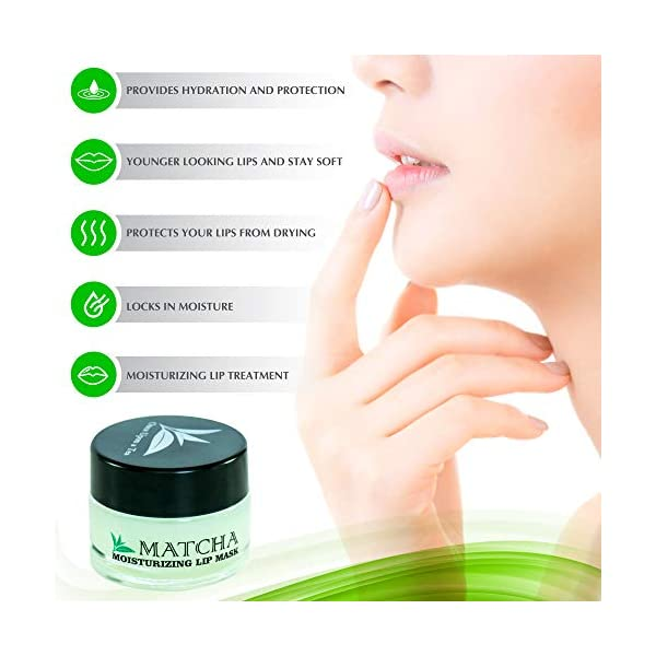 Moisturizing Green Tea Matcha Sleeping Lip Mask Balm, Younger Looking Lips Overnight, Best Solution For Chapped And…