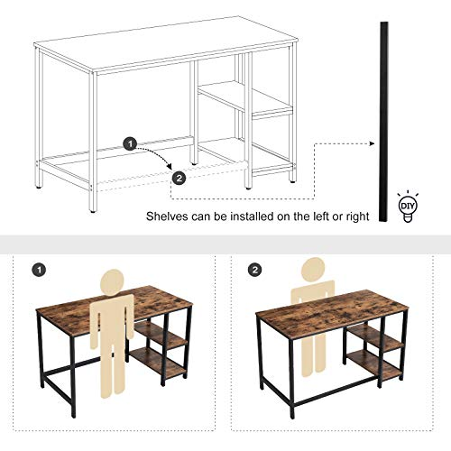 VASAGLE Industrial Writing, Computer, 47'' Office Study Desk with 2 Storage Shelves on Left Right, Stable Metal Frame, Easy Assembly ULWD47X, Rustic Brown by VASAGLE (Image #4)